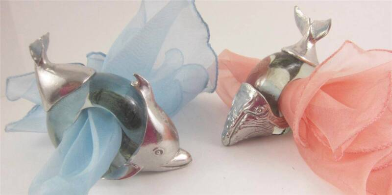 Napkin Rings Dolphin Whale Nautical SET 2, S Africa Artist Signed Glass Pewter