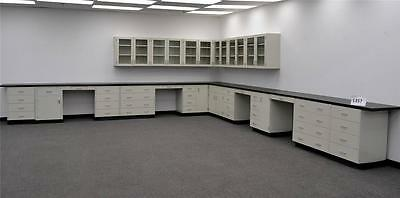 43 Base  18 Glass Door Wall White Laboratory Cabinets Black Counter Tops