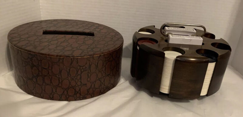 """Vtg Poker Chip Set/ Card Carousel Caddy With Top  Solid Wood BRASS HANDLE 9"""""""