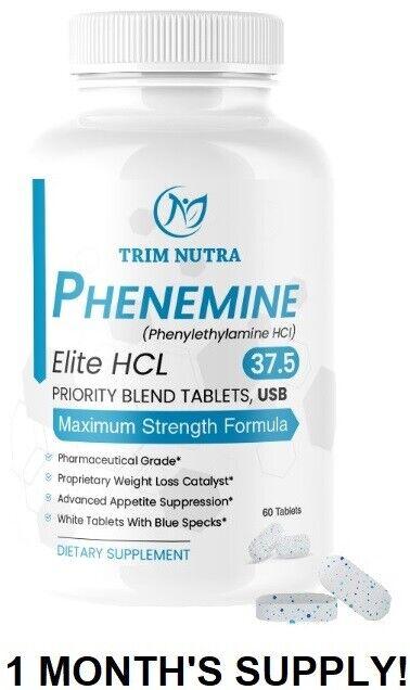 1 CT Phenemine Elite Best 37.5 White/Blue Tablets Slimming