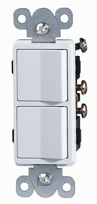 Enerlites 15a Double Switch Single Pole Dual Paddle Light Stack 62834-w White