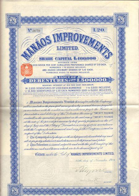 Manaos Improvements Limited > 1909 Brazil bond certificate share