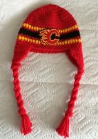 Calgary Flames Team Color Beautiful Baby Hat with Team Patch