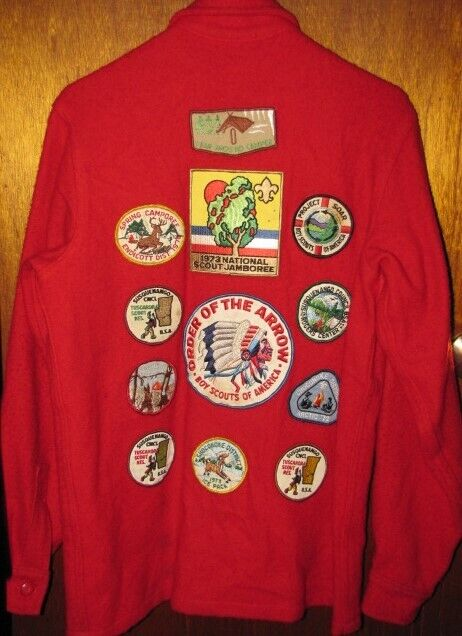 Vintage BOY SCOUTS Official RED WOOL JACKET W/ PATCHES Order of the Arrow