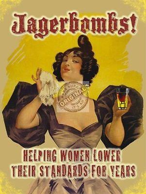 Jagerbombs! Pub Bar Shot Funny/Humorous, Vintage Retro, Large Metal/Tin Sign