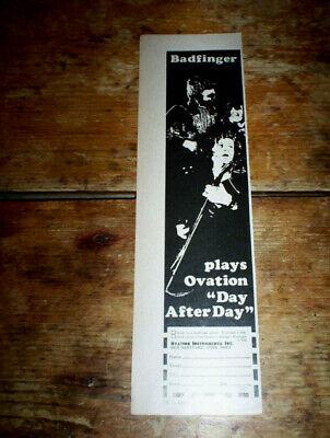 BADFINGER ( OVATION GUITARS ) ORIG 1970's US Vintage Jazz magazine PROMO Ad NM-