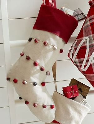 Plaid Christmas Stocking (Pottery Barn Plaid Pom Poms Nostalgic Christmas Stocking NWT No)