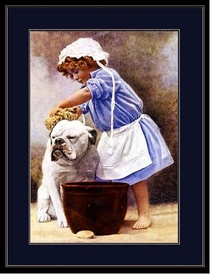 English Picture Print Bulldog Dog Puppy Dogs Bath Child Vintage Poster Art