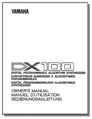 Used, YAMAHA DX-100 OWNER'S MANUAL DX100 DX 100 - Get it Fast! - First Class Shipping! for sale  Madison