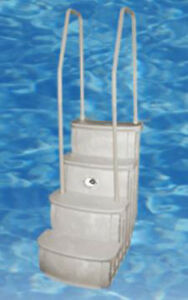 main access istep above ground swimming pool deck entry steps ladder ladders