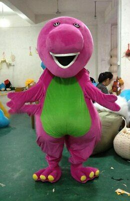 Purple Barney Mascot Costume Suit Cosplay Party Game Fancy Dress Halloween Adult](Barney Halloween Costume Adults)