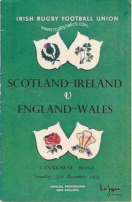 ENGLAND & WALES v SCOTLAND & IRELAND 1955 RUGBY PROGRAMME