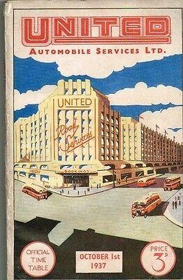 VINTAGE BUS TIME TABLE PRE WWII, 1937, UNITED AUTOMOBILE SERVICES LTD (LNER)