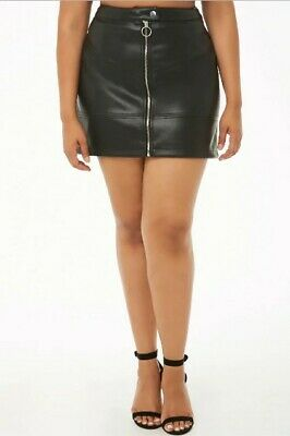 Forever 21 Plus Size Faux Leather Mini Skirt BLACK Size 0X NWT