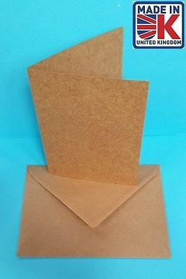 30 x A6 Plain Recycled Kraft Cards and Ribbed Envelopes Natural Brown 240gsm