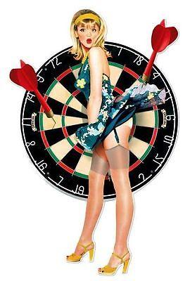 Vintage Werbung Blechschild Pin Up Dart Pfeile Kneipe Plakat Reklame 71 x 46 cm