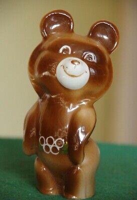 Soviet figurine Bear Footballer-player ZHK Porcelain Figurine 1980-s USSR Antique Ceramic MISHKA Olympic Games
