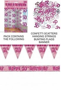 50th birthday party decorations pack pink banner flags for 50th birthday decoration packs
