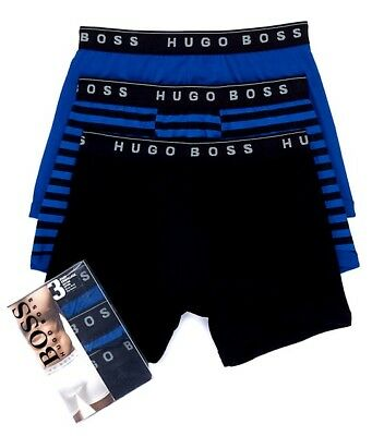 Men's HUGO BOSS 3 Pack BLACK Small COTTON  Boxer BRIEF Underwear 50297487