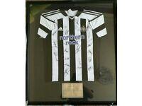 Signed and framed Newcastle United Shirt