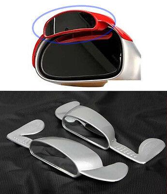 Super Aero Visor Side View Blind Spot Mirror Rain Blower Silver For All Fit Car
