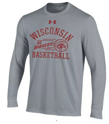 Under Armour Men's Wisconsin Badgers Basketball Charged LS Jersey Shirt Large L