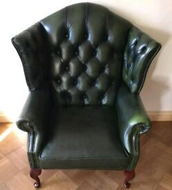 Green Leather Chesterfield Style Armchair By Thomas Lloyd Wingback Chair