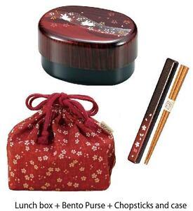 japanese bento lunch box bento box purse chopsticks and case set made in japan ebay. Black Bedroom Furniture Sets. Home Design Ideas