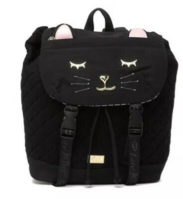 Luv Betsey Johnson  JESS KITSCH JERSEY BLACK CAT Quilted Canvas Backpack NWT