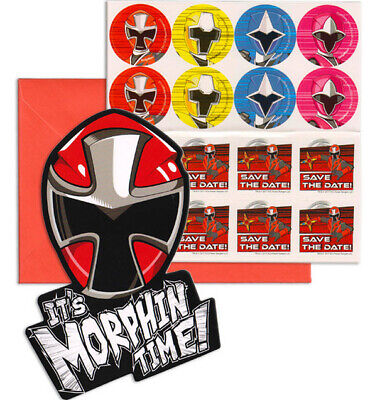 Power Rangers Invitations (POWER RANGERS NINJA STEEL birthday party INVITATIONS envelopes for 8 guests)