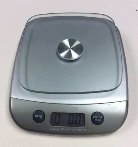 Taylor Kitchen Scale Silver 8 lb Measures Oz Grams Tare Glass Top Plate