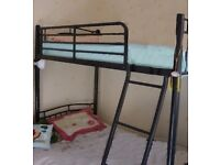 Futon black metal Double Bunk Bed with Mattress