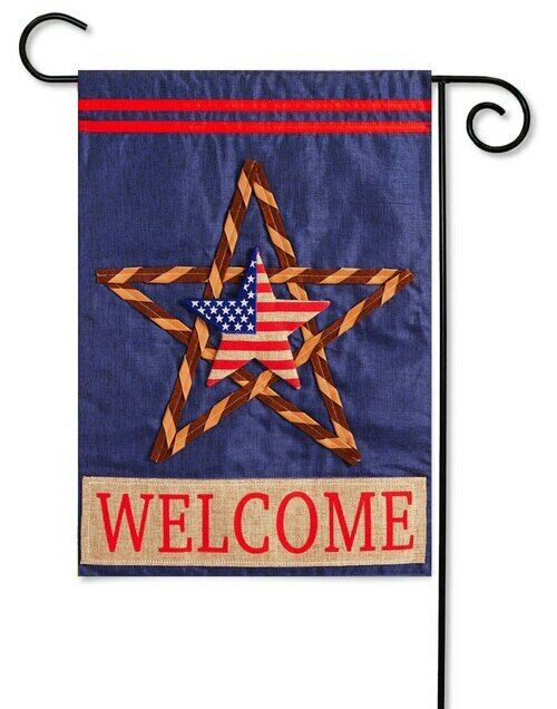 Evergreen Patriotic American Flag Star WELCOME Linen Appliqu