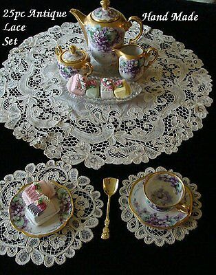OUTSTANDING 25pc Antique Hand Made Lace Placemats Centerpiece Coasters UNUSED