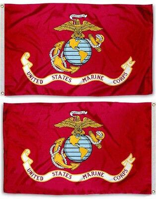 3X5 USMC American Marines Marine Corps Double Sided Flag Grommets 3X5 Premium