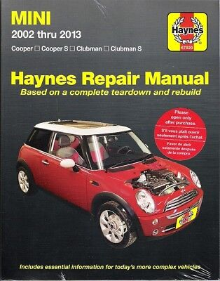 2002-2013 Mini Cooper/S Clubman/S Haynes Repair Service Workshop Manual Book 165