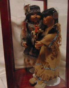 First Nations Dolls (2) in Glass Display Case