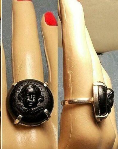 1 Victorian Vulcanite Cherub Ring Winged Cherub Cameo 100+ Yrs Old 925 Ring OOAK