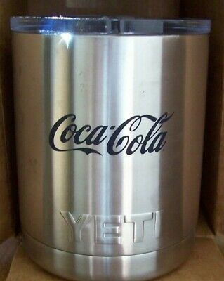 New YETI 10 oz Stainless Steel Vacuum Insulated Cup with Lid and Coca-Cola Logo