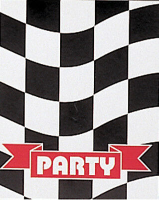 Black and White Check Invitations Invite Race Party Supplies Birthday Party 8 ct (Black And White Party Invitations)