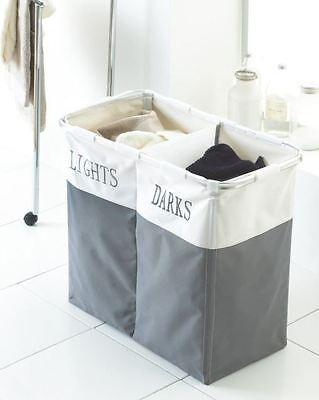 FOLDABLE BIN BAGS SECTION BASKET DOUBLE LAUNDRY SORTER HAMPER LIGHT & DARK