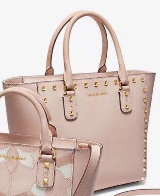 MICHAEL KORS STUDDED SAFFIANO LEATHER SANDRINE (Blossom pink)  NWT