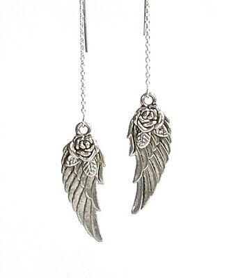 """IAJ"" STERLING SILVER Ear Threads Threader Earrings with ANGEL WINGS & ROSES"
