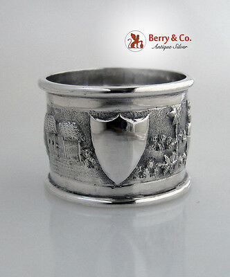Figural Repousse Napkin Ring Indian Colonial Sterling Silver 1900