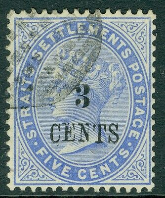 SG 82 malaysia 3c on 5c Blue very fine used, good colour & centring
