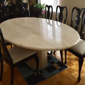 Oval shape Granit Dinning table with 6 wood frame/ padded chairs