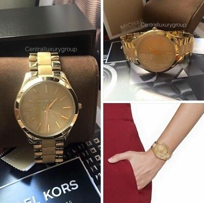 MICHAEL KORS SLIM RUNWAY GOLD-TONE & MILKY HORN ACETATE LADIES WATCH MK4285 NWT.