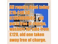Same day repair washing machines, dryers, ovens, dishwashers, fridges, freezers