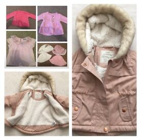 3-6 months girls clothes, coat and hats