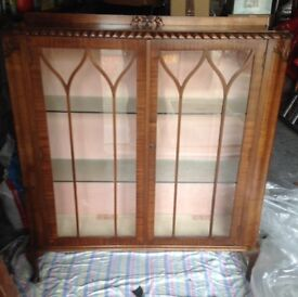 Antique Art Deco China Cabinet with shelves and lock & key